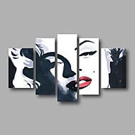 billiga Människomålningar-Hang målad oljemålning HANDMÅLAD - Människor Moderna Duk / Sträckt kanfas
