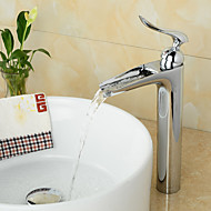 Contemporary Centerset Waterfall Ceramic Valve One Hole Single Handle One Hole Chrome , Bathroom Sink Faucet
