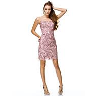 Funda / Columna Escote Barco Corta / Mini Todo en encaje / Encaje con cordones Espalda Bonita Fiesta de baile Vestido con Detalles con Perlas por TS Couture®