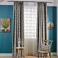 Grommet Top Double Pleat Two Panels Curtain Country Modern Neoclassical , Print Bedroom Poly / Cotton Blend Material Blackout Curtains