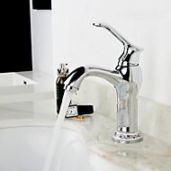 זול ברזים לחדר האמבטיה-רכוב על סיפון שסתום קרמי חור ידית אחת אחת כרום , חדר רחצה כיור ברז