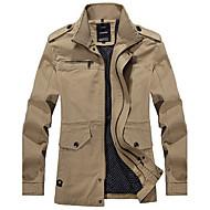 Langærmet Herre Ternet Afslappet/Hverdag Plusstørrelser Trenchcoat,Polyester