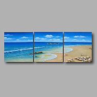 "Ready to Hang Stretched Hand-Painted Oil Painting 72""x24"" Three Panels Canvas Wall Art Modern Seascape Summer Beach"