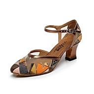 billige Moderne sko-Dame Moderne Glimtende Glitter Lær Høye hæler Trening Nybegynner Profesjonell Opptreden Spenne Tykk hæl Grå Brun Blå Grønn Kan ikke
