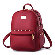 Women Bags All Seasons PU Shoulder Bag Rivet for Wedding Event/Party Shopping Casual Sports Formal Outdoor Office & Career Pink Wine
