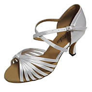 cheap Dancewear & Dance Shoes-Women's Latin Shoes / Salsa Shoes Satin Sandal Indoor / Performance / Professional Customized Heel Customizable Dance Shoes Red / Beige /