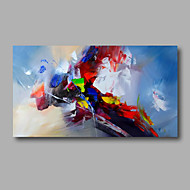 "Ready to hang Stretched Hand-Painted Oil Painting Canvas  40""x20"" Wall Art Abstract Yellow Red Light Blue"