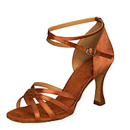 Women's Dance Shoes Lati /Swing/Sals/Samba Satin /Leatherette Chunky HeelBlack /Brown/Ivory/White