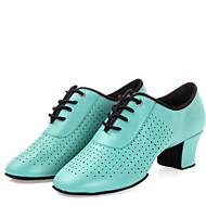 """billige Moderne sko-Dame Latin Lær Høye hæler Innendørs Snøring Lav hæl Svart Rød Gull Grønn 1 """"- 1 3/4"""" Kan ikke spesialtilpasses"""