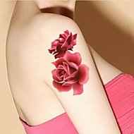 Peony Blooming Flowers Small Fresh Waterproof Flower Arm Temporary Tattoos Stickers Non Toxic Glitter