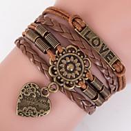 Heren Dames Wikkelarmbanden loom Bracelet Dubbele laag Bohemia Style Verstelbaar Legering Geometrische vorm Anker Liefde Sieraden Voor