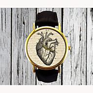 Dame Armbåndsur Quartz PU Bånd Analog Heart Shape Mode Sort Brun Et år Batteri Levetid / Rustfrit stål / SSUO 377