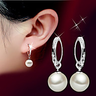 Dame Perle Lyserød Dråbeøreringe - Perle, Sølv Bold Basale, minimalistisk stil, Mode Sølv Til Bryllup / Fest / Fødselsdag