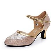 billige Moderne sko-Dame Moderne sko Velourisert Høye hæler Gummi Kubansk hæl Kan ikke spesialtilpasses Dansesko Sølv / Gull / Innendørs / Trening / Profesjonell
