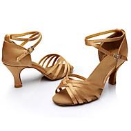 baratos Sapatilhas de Dança-Mulheres Sapatos de Dança Latina / Sapatos de Salsa / Sapatos de Samba Cetim / Courino Sandália Presilha Salto Personalizado / Interior