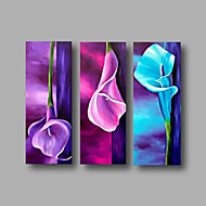 Ready to Hang Stretched Framed Hand-painted Oil Painting Three Panels Canvas Wall Art Purple Blue Pink Lily Flowers