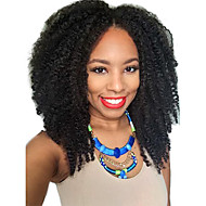 נשים פיאות תחרה משיער אנושי שיער אנושי חלק U 130% צְפִיפוּת Kinky Curly אפרו פאה Jet Black שחור חום כהה חום בינוני צבע טבעי בינוני ארוך