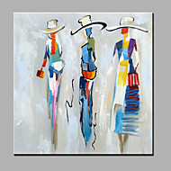 お買い得  人物画-手描きの 人物 方形, 近代の キャンバス ハング塗装油絵 ホームデコレーション 1枚