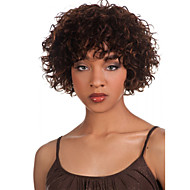 Syntetiske parykker Krøllet Syntetisk hår Afro-amerikansk paryk Brun Paryk Dame Kort Lågløs Brun