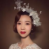 billiga Brudhuvudbonader-Lin Oäkta pärla Blommor 1 Bröllop Speciellt Tillfälle Hårbonad