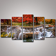cheap Prints-Landscape Realism, Five Panels Canvas Horizontal Print Wall Decor Home Decoration
