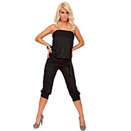 cheap -Women's Solid White / Black Jumpsuits , Sexy / Casual / Day Strapless Sleeveless