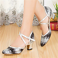 Women's Dance Shoes Latin / Modern / Salsa / Samba Paillette Heel Black / Blue Customizable