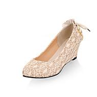 baratos Sapatos Femininos-Mulheres Materiais Customizados Primavera / Verão / Outono Salto Plataforma Branco / Preto / Bege / Casamento / Festas & Noite