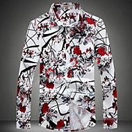 Veći konfekcijski brojevi Majica Muškarci Vikend Cvijet Klasični ovratnik Slim, Print Pamuk