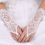cheap Wedding Gloves-Silk Elastic Satin Elbow Length Glove Bridal Gloves With Bowknot