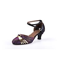 billige Moderne sko-Dame Moderne sko Velourisert Sandaler / Høye hæler Gummi / Spenne Kubansk hæl Kan ikke spesialtilpasses Dansesko Blå / Gull / Lilla / Innendørs / Profesjonell