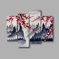 "Ready to Hang Stretched Hand-Painted Oil Painting 64""x40"" Four Panels Canvas Wall Art Modern Pink Blossom Mountain"
