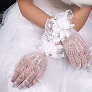 Filet / Satin Elastique / Polyester Longueur Poignet Gant Classique / Gants de Mariée Avec Couleur Unie