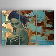 Pintados à mão PessoasModerno / Estilo Europeu 3 Painéis Tela Pintura a Óleo For Decoração para casa