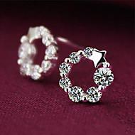 Boucles d'oreille goujon Cristal Argent sterling Strass Forme d'Etoile Argent Bijoux Mariage Soirée Quotidien 2pcs