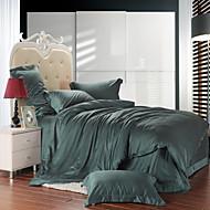 布団カバーセット 純色 4個 テンセル シルク/コットンのブレンド 反応染料 テンセル シルク/コットンのブレンド 1×布団カバー 2×枕カバー 1×フラットシーツ