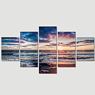 baratos -Paisagem / Moderno Impressão em tela 5 Painéis Pronto para pendurar , Horizontal