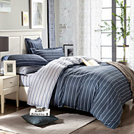 Gray striped 100% Cotton Bedclothes 4pcs Bedding Set Queen Size Duvet Cover Set good qulity