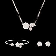 Syntetisk Diamant Smykkesæt - Rhinsten, Simuleret diamant Blomst Fest, Mode Omfatte Hvid Til Fest / Speciel Lejlighed / Jubilæum / Øreringe / Halskæder
