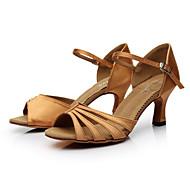 baratos Sapatilhas de Dança-Mulheres Sapatos de Dança Latina Cetim Sandália Presilha Salto Personalizado Personalizável Sapatos de Dança Marrom / Laranja / Púrpura