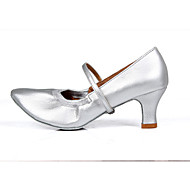 Calçados Femininos-Saltos-Saltos-Salto Grosso-Preto / Prateado / Dourado-Courino-Casamento / Ar-Livre / Escritório & Trabalho / Social /