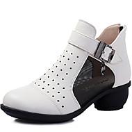 baratos Sapatilhas de Dança-Mulheres Tênis de Dança / Sapatos de Dança Moderna Couro Têni Ziper Salto Cubano Não Personalizável Sapatos de Dança Preto / Vermelho /