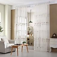 Anéis Único Plissado Dois Painéis Tratamento janela Regional Modern Europeu Sala de Estar Poli/Mistura de Algodão Material Sheer Curtains