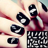 3d západní styl bílé pírko na nehty samolepky