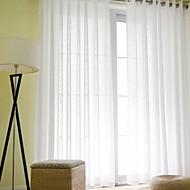 billige Gjennomsiktige gardiner-Stanglomme Propp Topp Blyant Plissert To paneler Window Treatment Moderne Ensfarget Stue Lin/ Polyester Blanding Materiale Gardiner Skygge