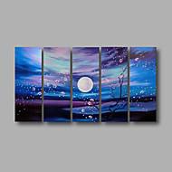 billiga Abstrakta målningar-Hang målad oljemålning HANDMÅLAD - Landskap Moderna Inkludera innerram / Fem paneler / Sträckt kanfas