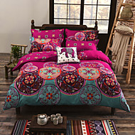 cheap Summer Sale-Duvet Cover Sets Floral Cotton Reactive Print 4 Piece