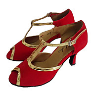 Kan spesialtilpasses-Dame-Dansesko-Latinamerikansk Ballett-Lakklær Velourisert-Kustomisert hæl-Rød