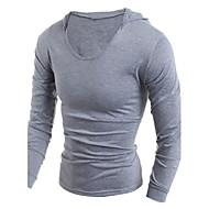 Hætte Herre - Ensfarvet Sport T-shirt Bomuld