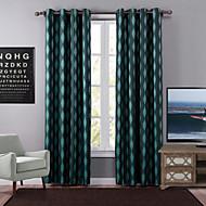 Eén paneel Modern Meetkundig Groen Slaapkamer Polyester Verduisteringsgordijnen gordijnen